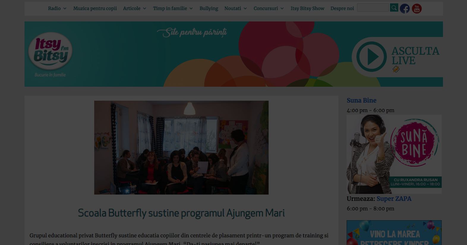 Grupul educational privat Butterfly sustine educatia copiilor